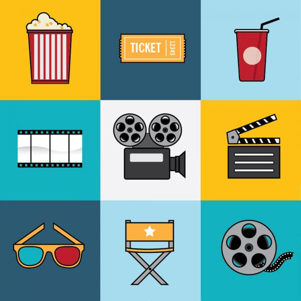 Movie and Film Industry Icon Set vector