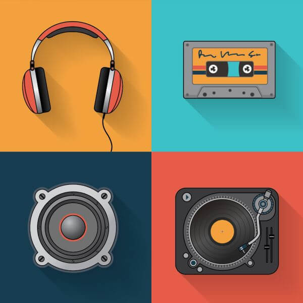 Music playback icon set vector