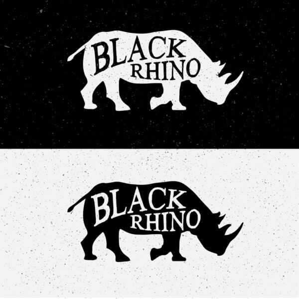 Black Rhino Hand Drawn On Black and White vector