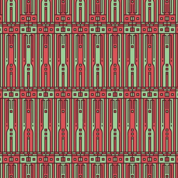Tech style green and red geometric style pattern vector