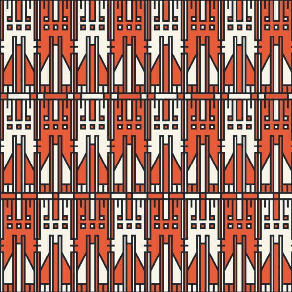 Tech style white and orange geometric pattern vector