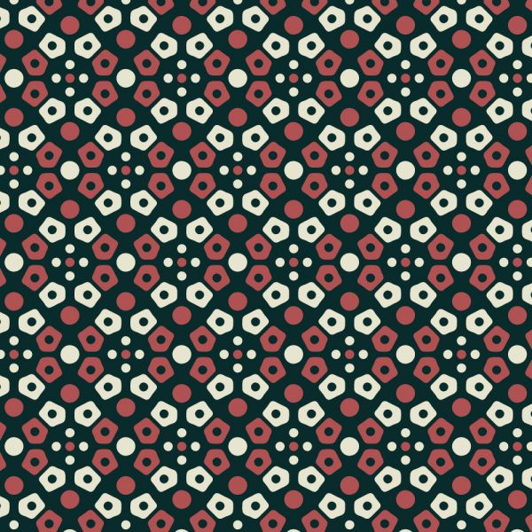 Retro navy, cream, and red mosaic pattern vector