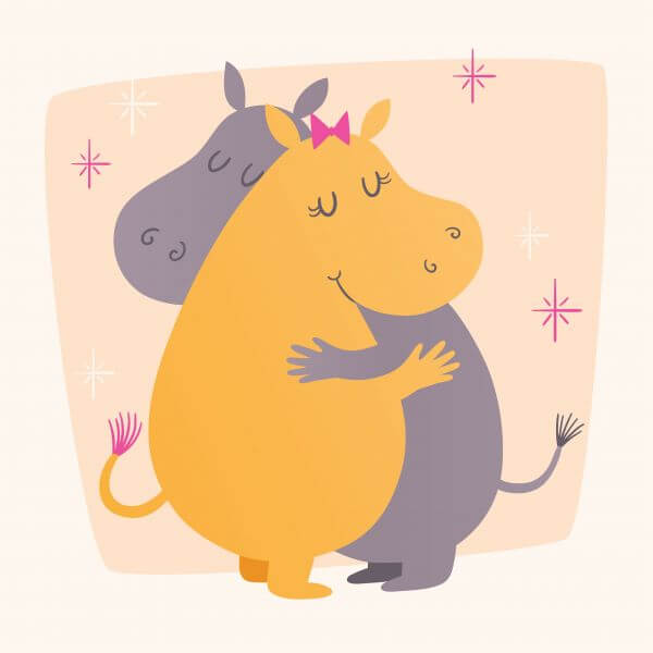 Vector illustration with cute hippos hugging vector
