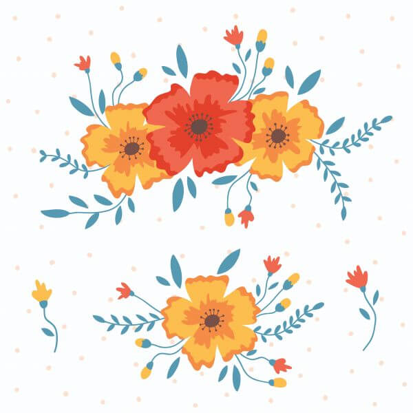Vector floral elements vector