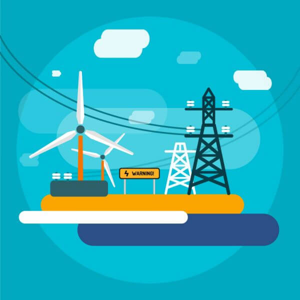 Electricity station for energy supply. Free vector illustration for design vector