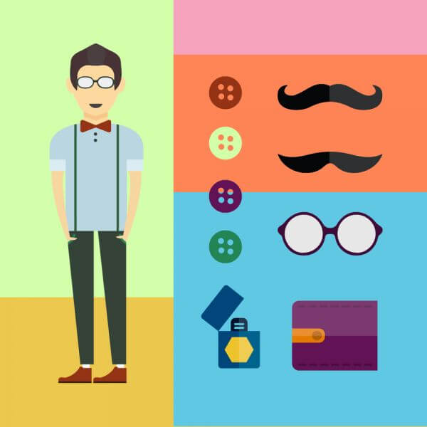 People vector character with tools and objects. Free illustration for design vector
