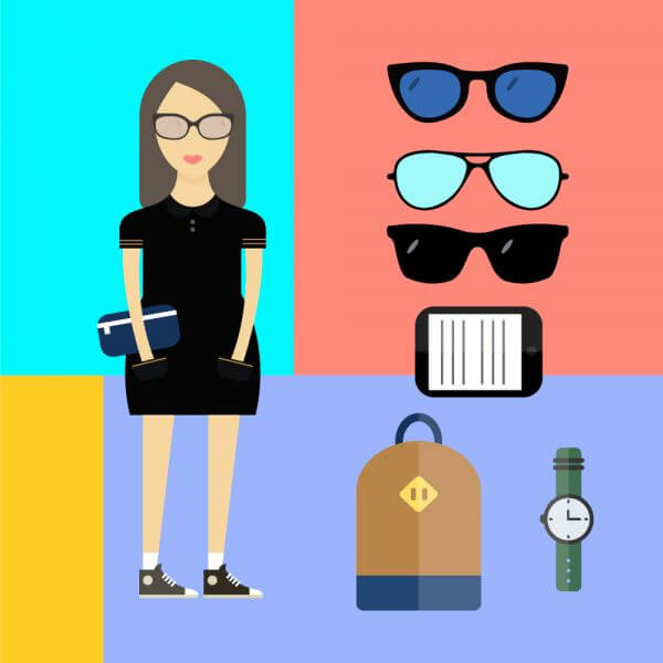 People vector woman character with tools and objects. Free illustration for design vector