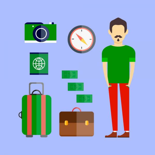 People vector travel character with tools and objects. Free illustration for design vector