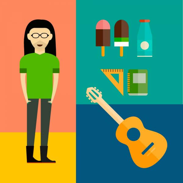 People vector music hero character with tools and objects. Free illustration for design vector