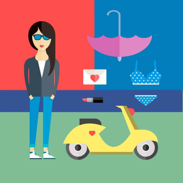 People vector girl character with tools and objects. Free illustration for design vector