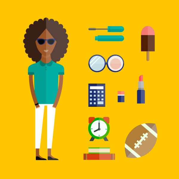 People vector afro girl character with tools and objects. Free illustration for design vector