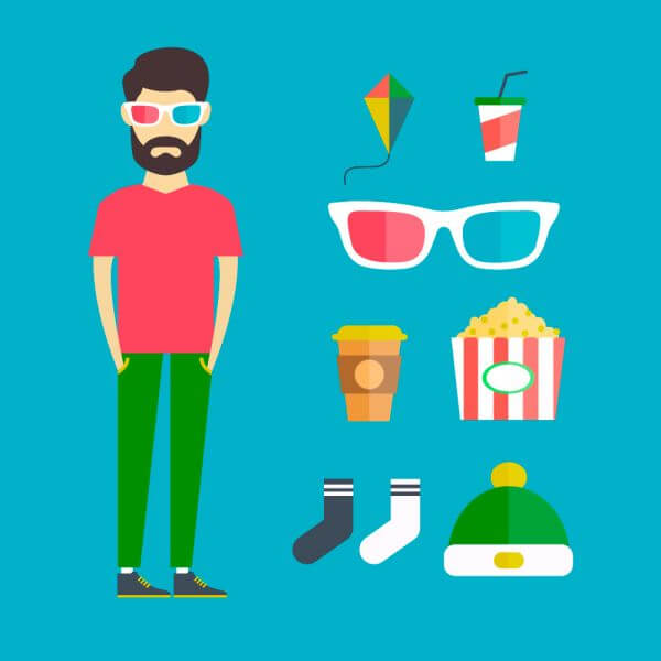 People vector young character with tools and objects. Free illustration for design vector