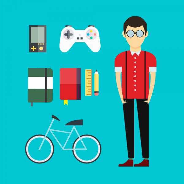 People vector designer character with tools and objects. Free illustration for design vector
