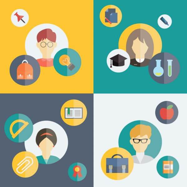 People vector characters with tools and objects. Free illustration for design vector