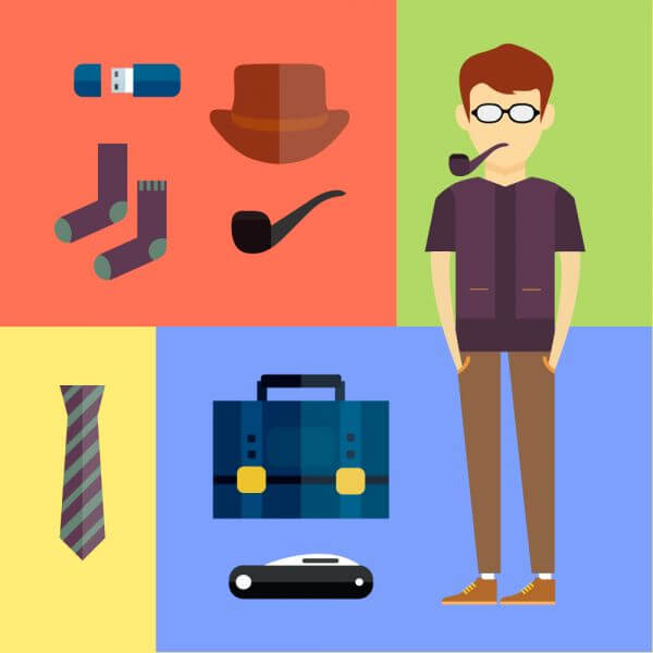 People vector hipster character with tools and objects. Free illustration for design vector
