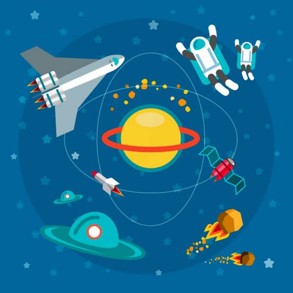 Space world with man and some objects. For free vector design vector