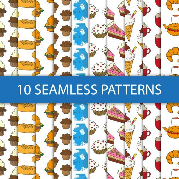 Seamless patterns with food vector