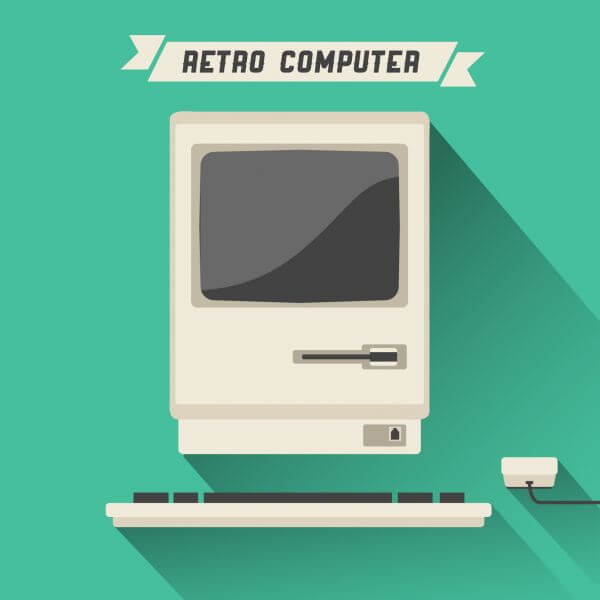 Retro Computer with Long Shadow vector