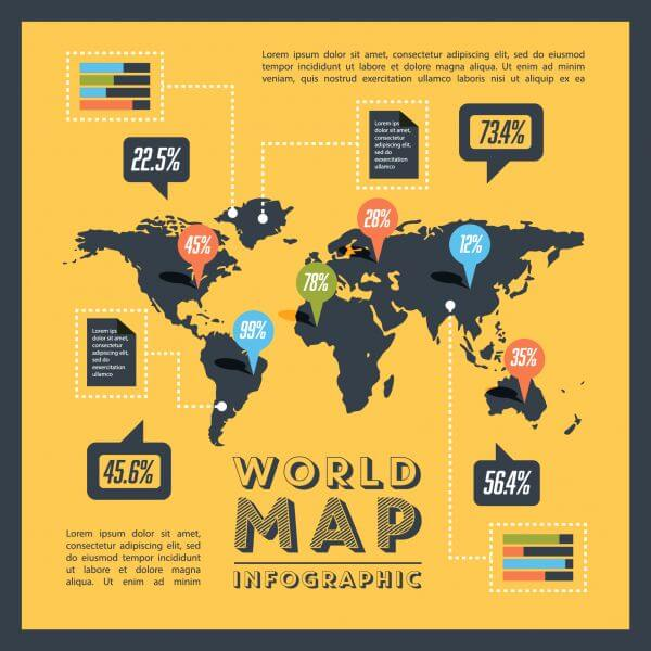Retro World Map with Elements vector