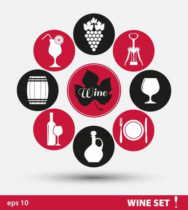 Wine set of icons vector