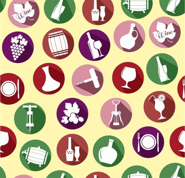 Seamless pattern of wine. Vintage style. vector