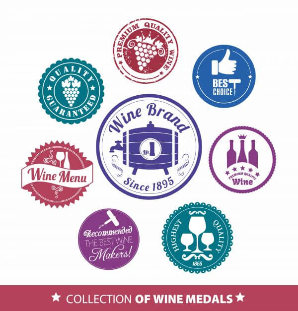 Collection of wine mrdal vector