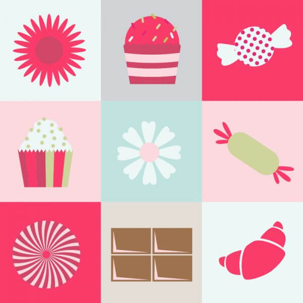 Sweets and flowers on metro background vector