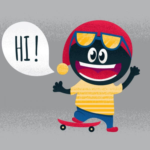 Cute monster with skateboard vector
