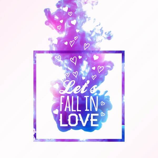 Abstract cloud of ink in water and love typography vector