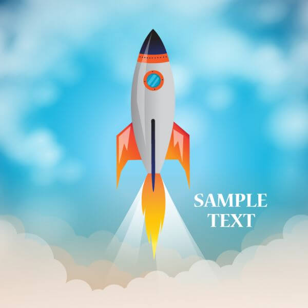 Space rocket launch with cloudy background vector