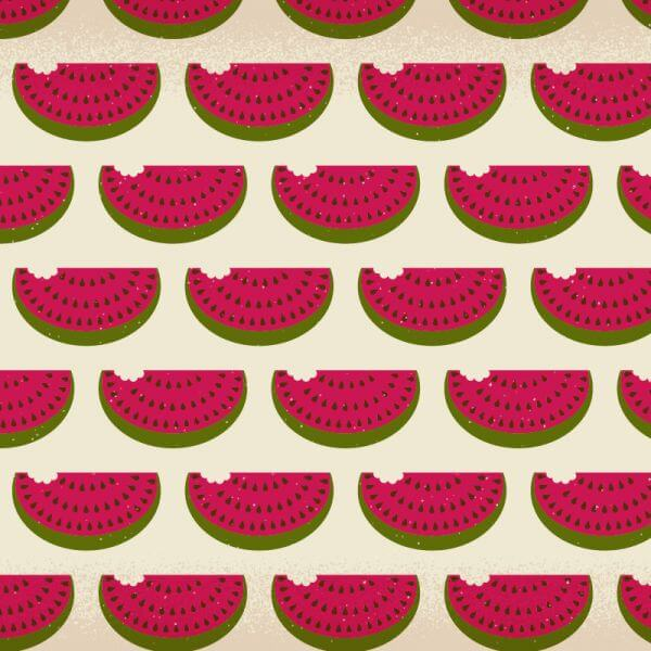 Watermelon pattern with subtle texture vector
