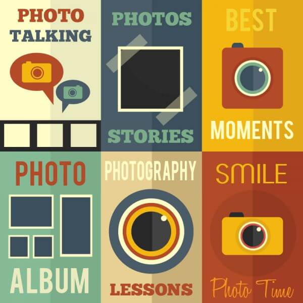 Photography flat concept cards vector