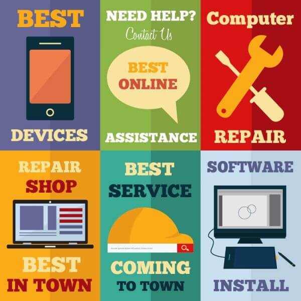 Computer repair shop flat concept cards vector