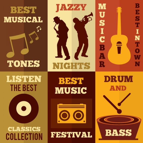 Music set of flat design concepts vector