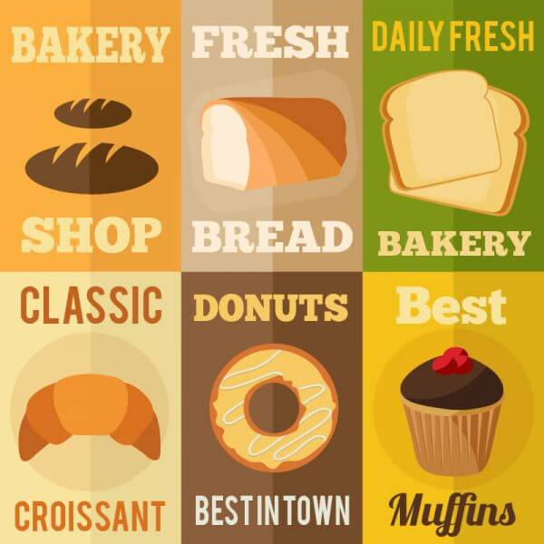 Bakery flat design concepts vector