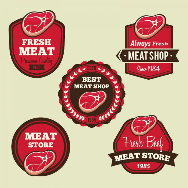 Labels set for meat shops vector