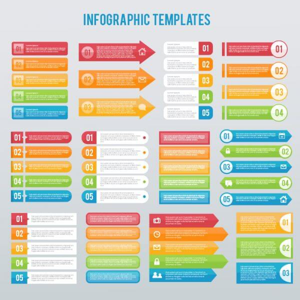 Infographics templates set vector