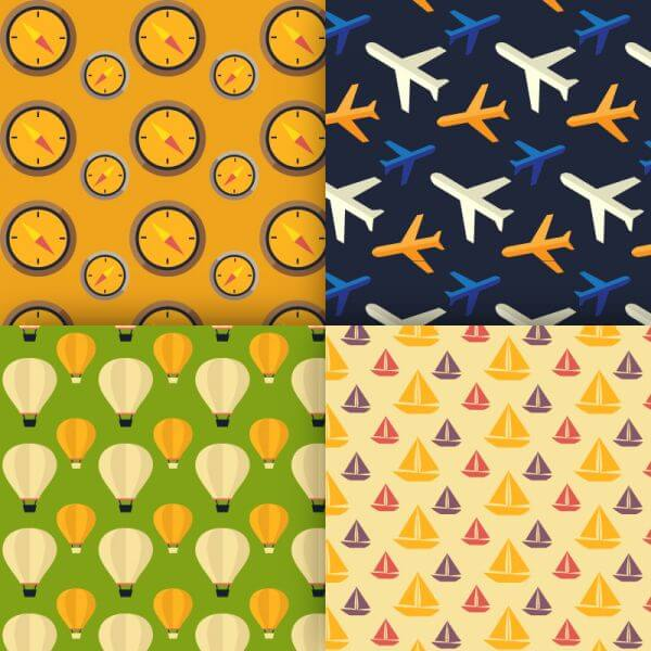 Travel vector patterns vector