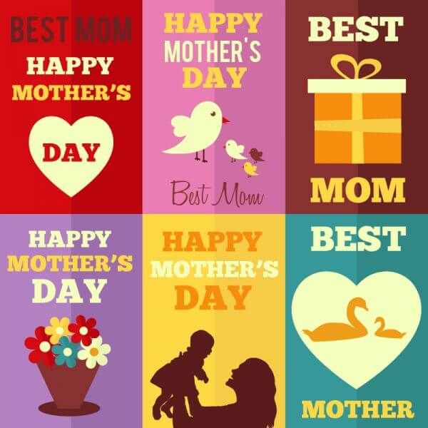 Retro Mothers Day Cards vector
