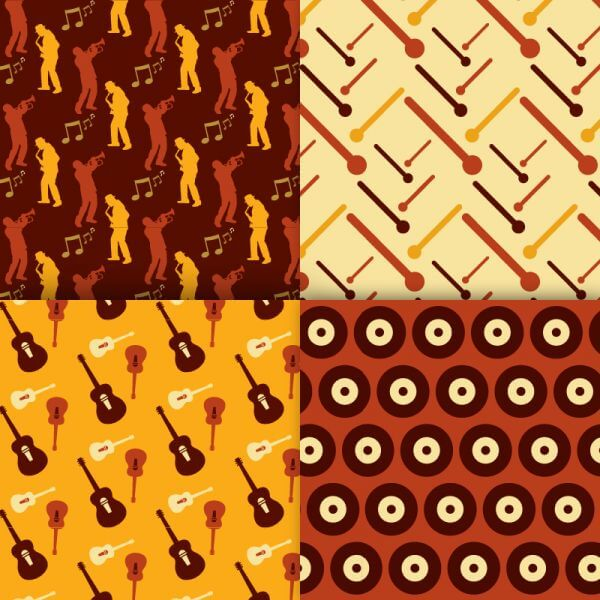 Retro musical patterns set vector