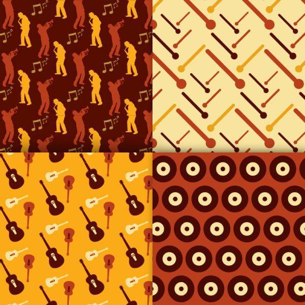 Retro musical patterns set vector