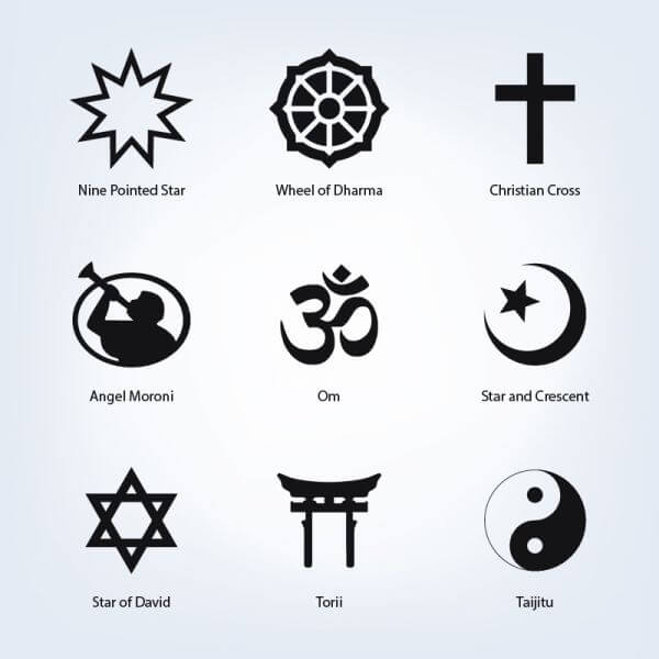 Set of religious symbols vector