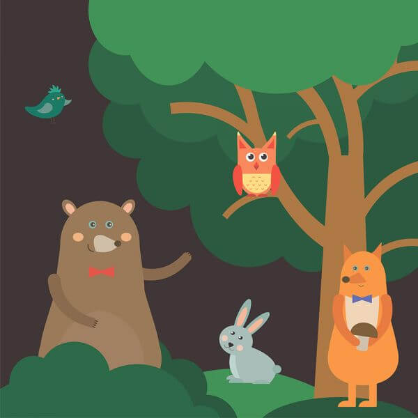 Vector illustration of cute animal at night forest for free vector design vector