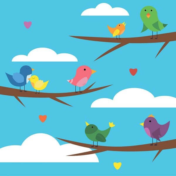 Vector illustration of cute bird set for free vector design vector