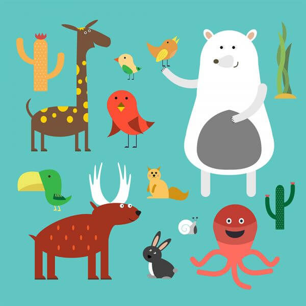 Vector illustration of cute animal set for free vector design vector