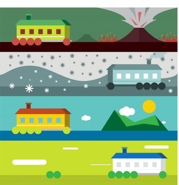 Vector illustration of some landscape with house and weather vector