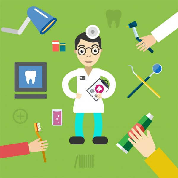 Dentist character with tools free vector illustration
