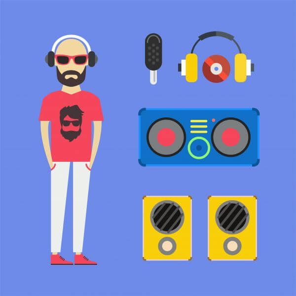 Some DJ man with music tools - vector free illustration vector