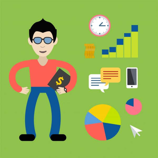 Some businessman with money tools - free vector illustration vector