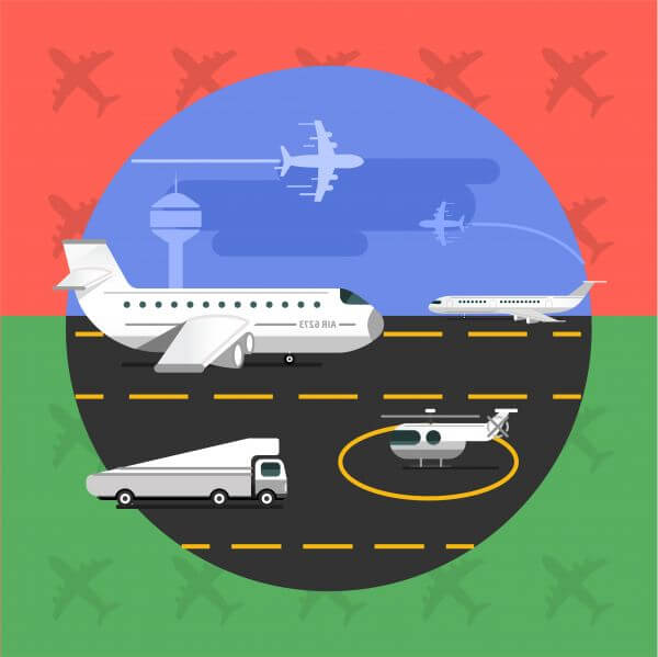 Free vector illustration of airport with planes - travel vector